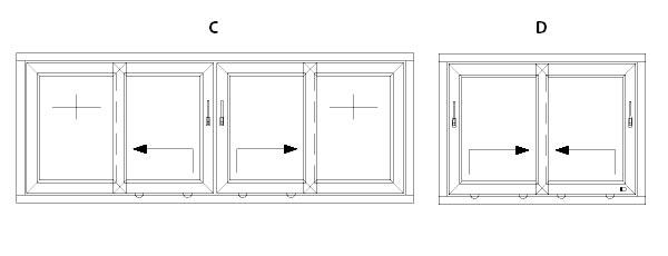 drzwi tarasowe schemat systemu przesuwnego hst C i D